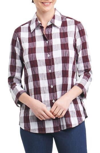 Foxcroft Sue Shaped Fit Crinkle Plaid Shirt, Burgundy