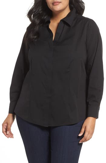 Plus Size Foxcroft Ellen Solid Stretch Cotton Top, Black