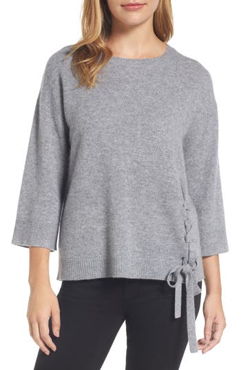 Halogen Side Tie Wool And Cashmere Sweater, Grey