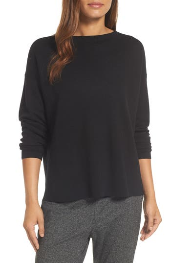 Eileen Fisher Mock Neck Box Wool Sweater, Black