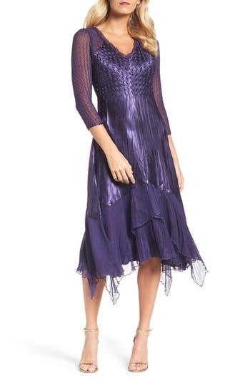 Komarov Handkerchief Hem A-Line Dress, Purple