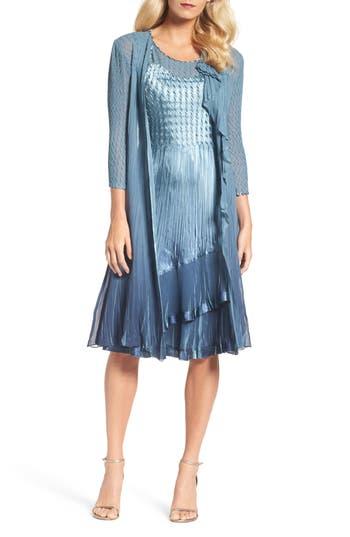 Komarov A-Line Dress With Long Cascade Jacket, Blue