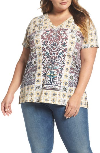 Plus Size Lucky Brand Moroccan Tile Tee, Red