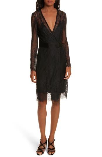 Diane Von Furstenberg Faux-Wrap Lace Overlay Dress, Black