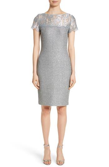St. John Collection Metallic Sequin Knit Dress, Grey