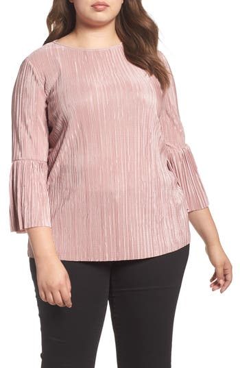 Plus Size Vince Camuto Pleated Knit Bell Sleeve Top, Pink