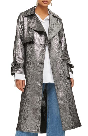 Women's Topshop Metallic Trench Coat