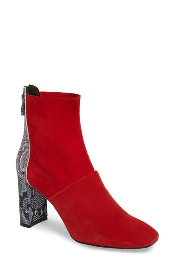 Topshop Hunk Snake-Textured Bootie - Red