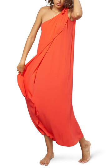 Mara Hoffman One-Shoulder Cover-Up Maxi Dress, Red