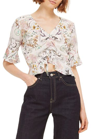 Women's Topshop Ruby Magical Leopard Ruched Blouse