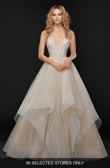 Hayley Paige Keagan Embellished Tulle Ballgown, Size IN STORE ONLY - Beige