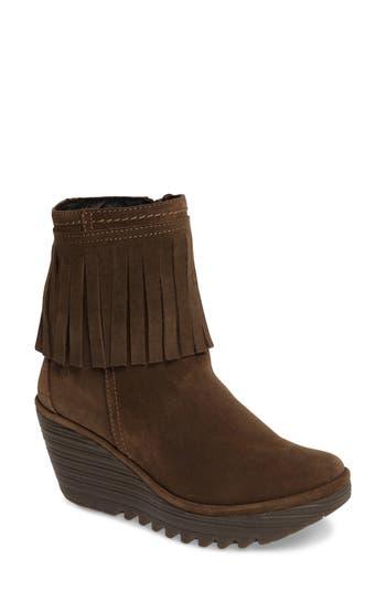 Fly London Yagi Fringe Boot - Brown