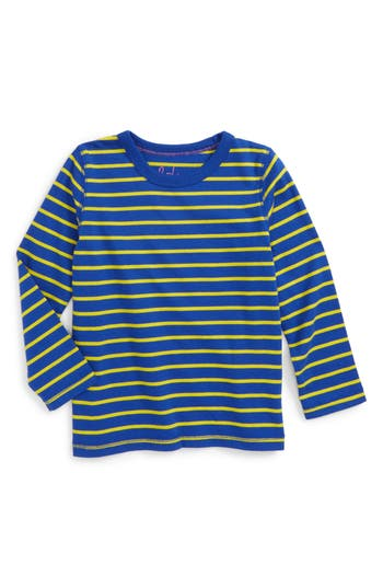 Boy's Mini Boden Supersoft Stripe T-Shirt, Size 4-5Y - Blue