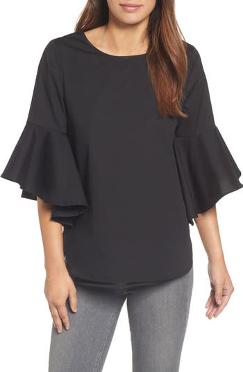 Pleione Knot Bell Sleeve Knot Top, Black