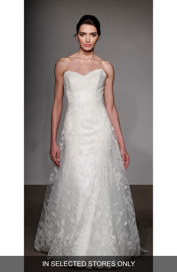 Anna Maier Couture Liliane Strapless Lace Gown, Size IN STORE ONLY - White