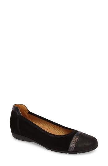 Gabor Cap Toe Ballet Flat, Black