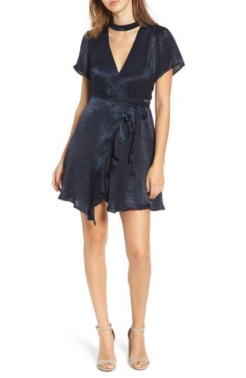 Women's Lush Satin Choker Wrap Dress, Size Small - Blue