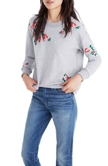 Women's Madewell Embroidered Crop Sweatshirt