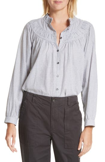 La Vie Rebecca Taylor Stripe Long Sleeve Ruffle Shirt, Grey