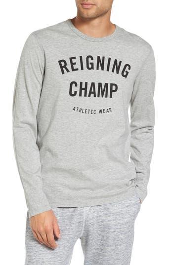 Reigning Champ Gym Logo Long Sleeve T-Shirt, Grey