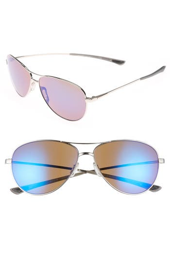 Women's Smith 'Langley' 60Mm Aviator Sunglasses - Silver/ Blue