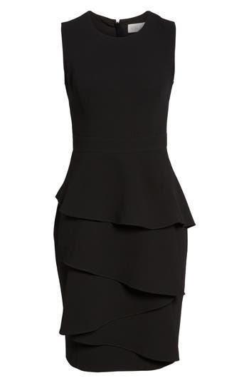 Eliza J Ella Cascade Crepe Sheath Dress, Black