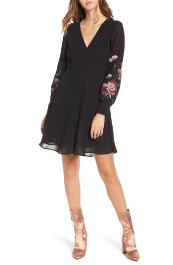 Astr The Label Holly Fit & Flare Dress, Black