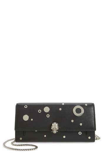 Alexander Mcqueen Studded Leather Wallet On A Chain - Black