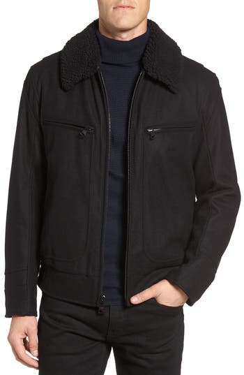 Men's Marc New York Concord Faux Shearling Aviator Jacket, Size Small - Black