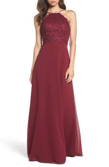 Hayley Paige Occasions Lace Halter Gown, Burgundy