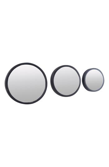 Foreside Set Of 3 Round Mirrors, Size One Size - Metallic