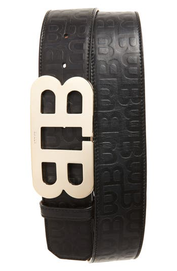 BALLY MIRROR B STAMPED LEATHER BELT, BLACK