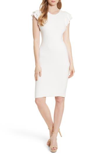 Alice + Olivia Kellin Ruffle Sleeve Sweater Dress, White