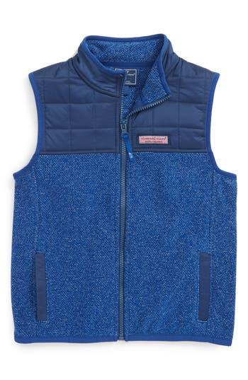 Boy's Vineyard Vines Jacquard Fleece Vest, Size 5 - Blue