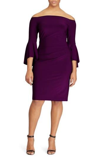 Plus Size Lauren Ralph Lauren Bell Sleeve Sheath Dress, Purple