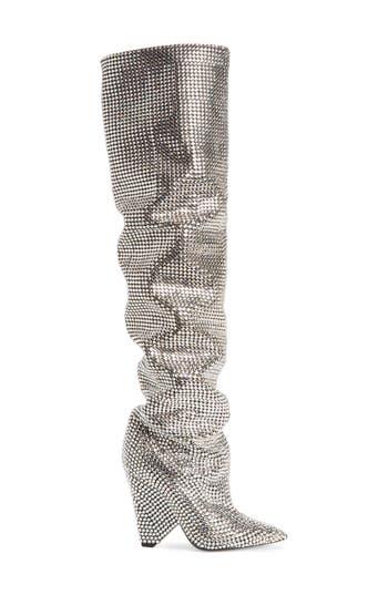 Saint Laurent Niki Crystal Embellished Boot, Metallic