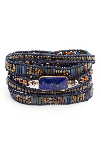 Women's Nakamol Design Lapis & Leather Wrap Bracelet