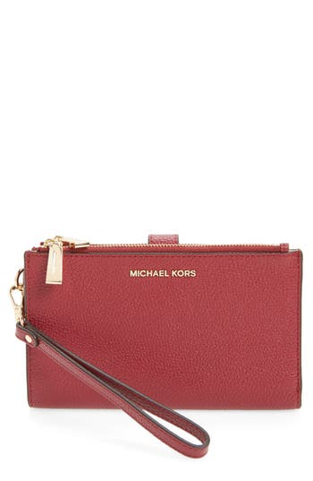 Michael Michael Kors Adele Leather Wristlet - Red
