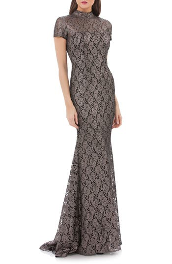 Carmen Marc Valvo Infusion Mock Neck Lace Gown, Metallic