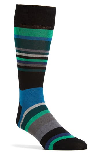 Men's Bugatchi Stripe Socks, Size One Size - Black