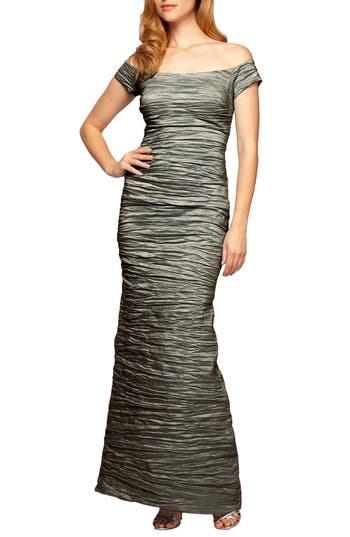 Alex Evenings Taffeta Mermaid Gown, Metallic