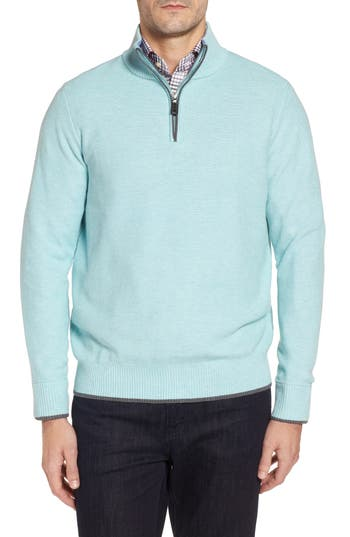 Tailorbyrd Starks Tipped Quarter Zip Sweater, Blue