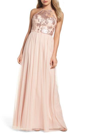 Women's Amsale Sheridan Sequin Halter Dress