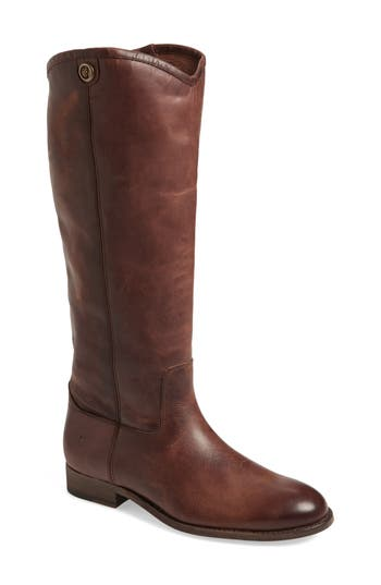Frye Melissa Button 2 Knee High Boot, Regular Calf- Brown