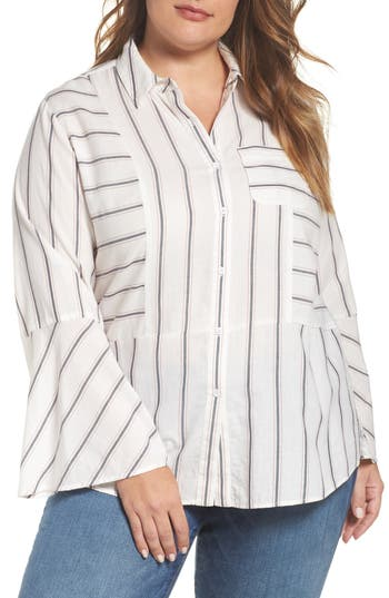 Plus Size Two By Vince Camuto Bell Sleeve Stripe Shirt, White