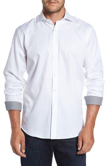 Men's Bugatchi Classic Fit Diagonal Jacquard Sport Shirt, Size Large - White