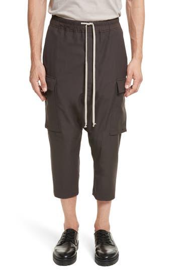 Rick Owens Cropped Drawstring Cargo Pants, Black