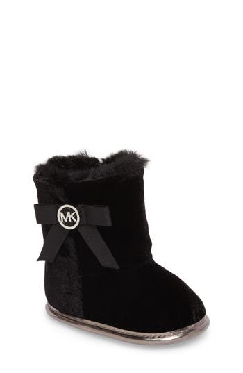Infant Girls Michael Michael Kors Baby Sweet Crib Boot Size 1 M  Black