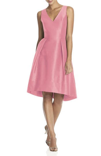 Alfred Sung Satin High/low Fit & Flare Dress, Pink (Online Only)