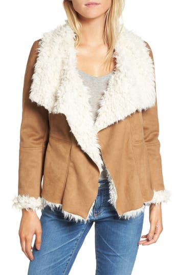 Women's Bb Dakota Fawn Faux Shearling Jacket, Size X-Small - Brown